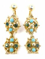 Vintage Faux Turquoise And Rhinestone Drop Earrings By Sarah Coventry.